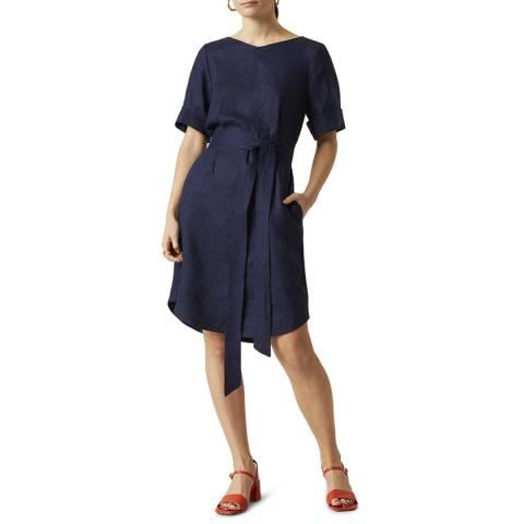 Jigsaw Navy Linen Belted Dress