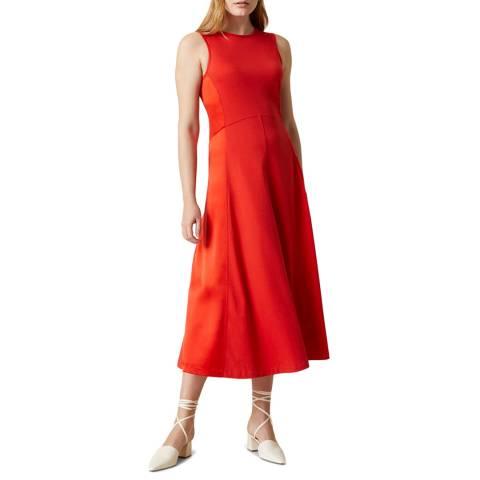 Jigsaw Red Silk Blend Panel Cotton Dress