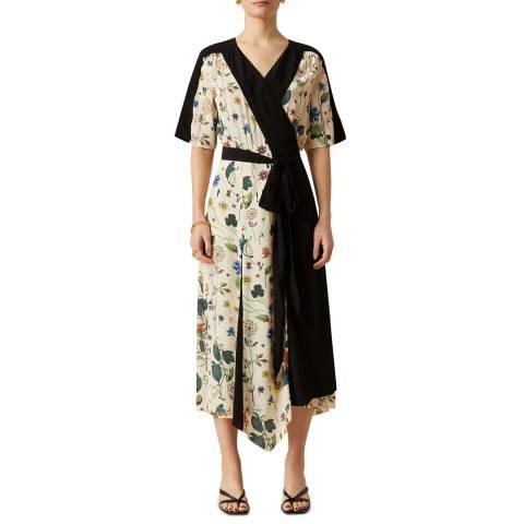 Jigsaw Cream Chinoiserie Floral Wrap Dress