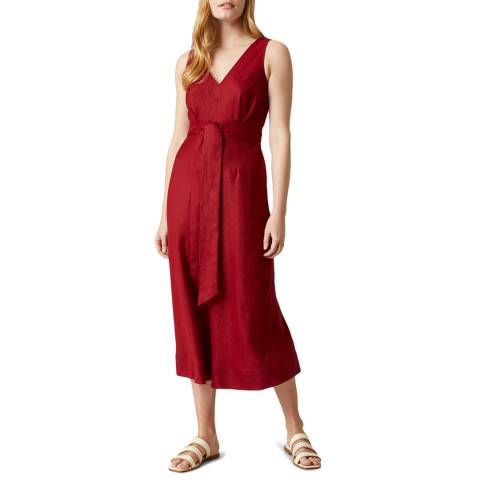 Jigsaw Red Linen V Neck Midi Dress