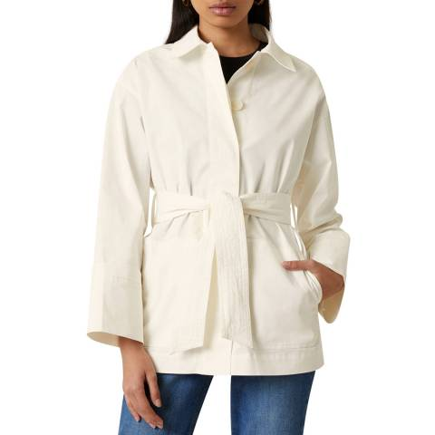 Jigsaw Off White Fine Drill Belted Jacket
