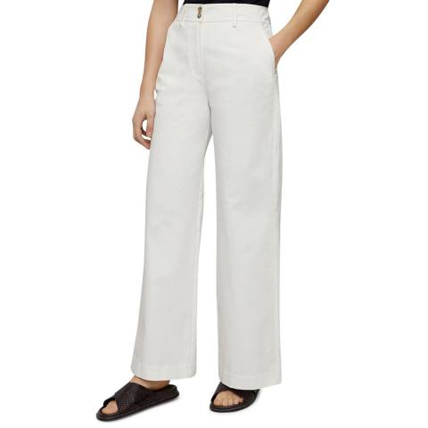 Jigsaw White Fine Drill Wide Trousers