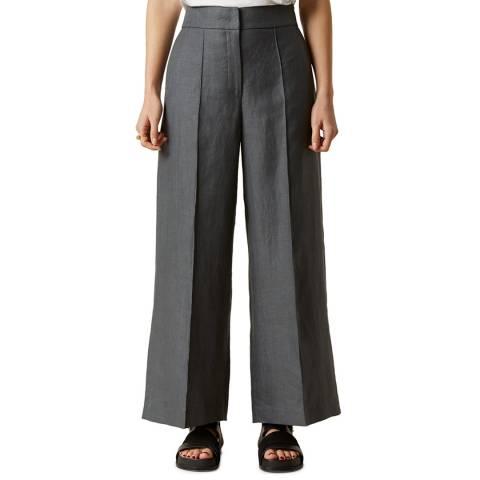 Jigsaw Slate Linen Wide Crop Trousers