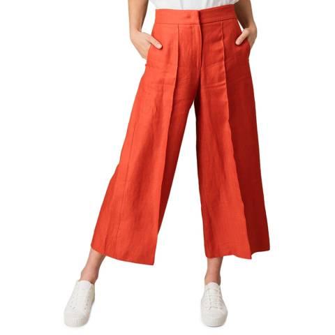 Jigsaw Red Linen Wide Crop Trousers