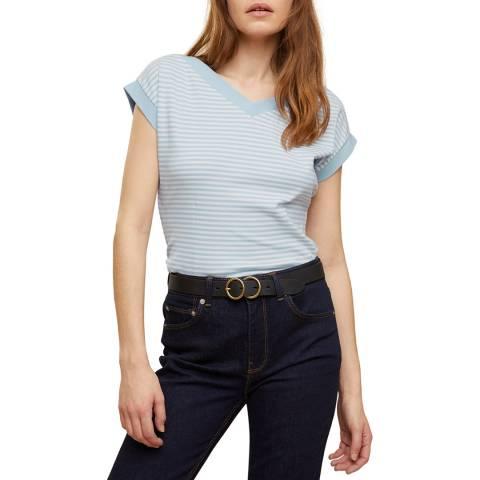 Jigsaw Blue Stripe Bardot Cotton T-Shirt
