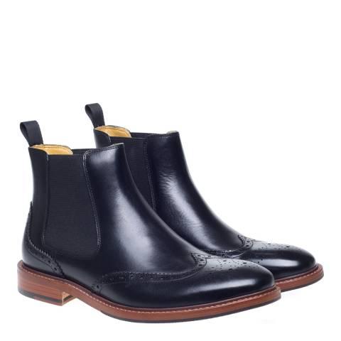 Steptronic Black Buckingham Brogue Chelsea Boots