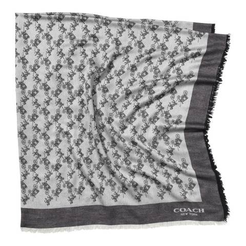 Coach Grey Horse and Carriage Oversized Square Scarf