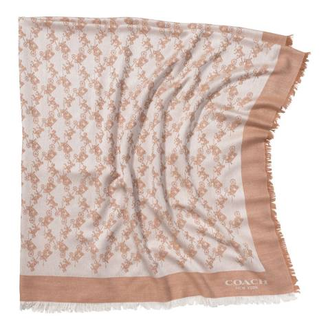 Coach Camel Horse and Carriage Oversized Square Scarf
