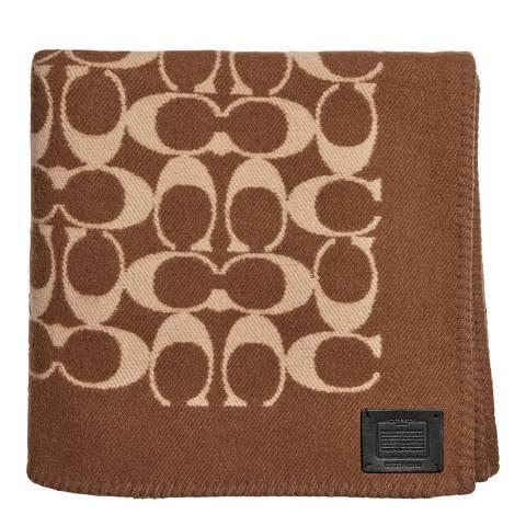Coach Khaki Monogram Blanket Scarf