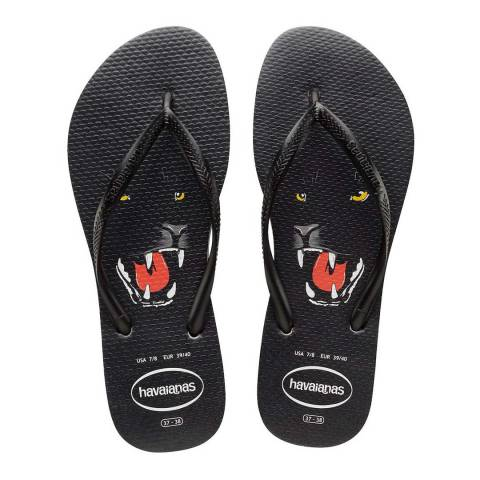 Havaianas Black Slim Animal Print Flip Flops