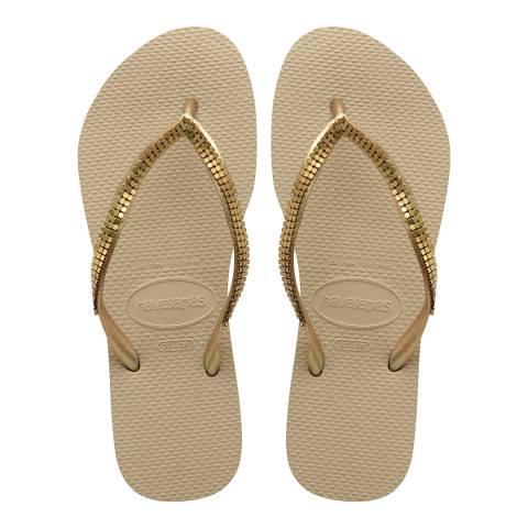 Havaianas Sand Grey & Gold Slim Metal Mesh Flip Flops