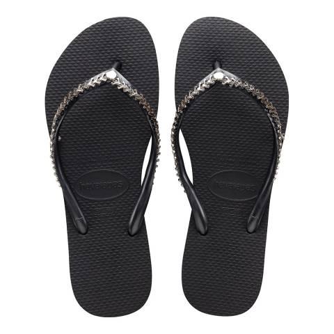 Havaianas Black Grega Slim Metal Flip Flops
