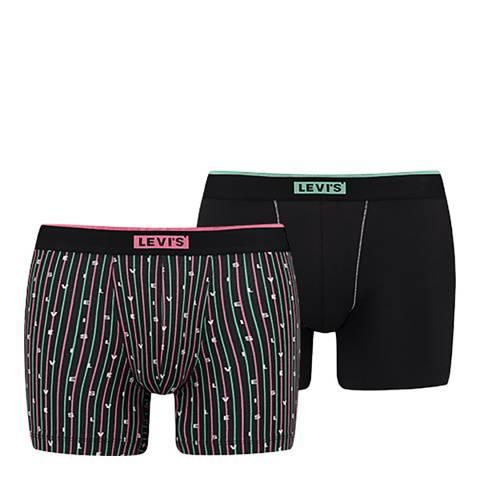Levi's Black/Multi Logo Stripe Aop Boxer, 2 Pack