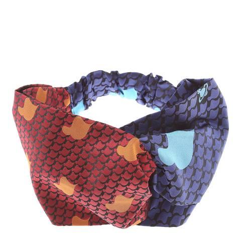 Vivienne Westwood Blue Red Tie Head Band