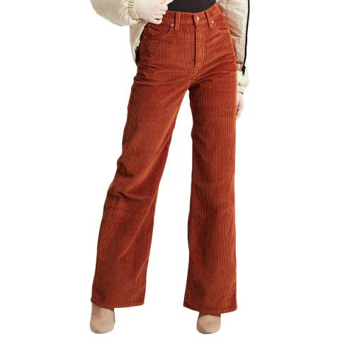 Levi's Rust Ribcage Wide Leg Cord Jeans
