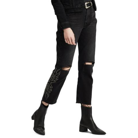 Levi's Black Distressed 501® Cropped Jeans
