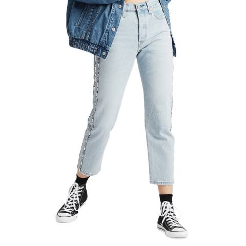Levi's Blue Logo Tape 501® Cropped Stretch Jeans