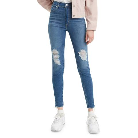 Levi's Blue Distressed Mile High Super Skinny Stretch Jeans