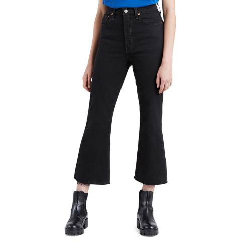 Levi's Black Ribcage Crop Flare Stretch Jeans