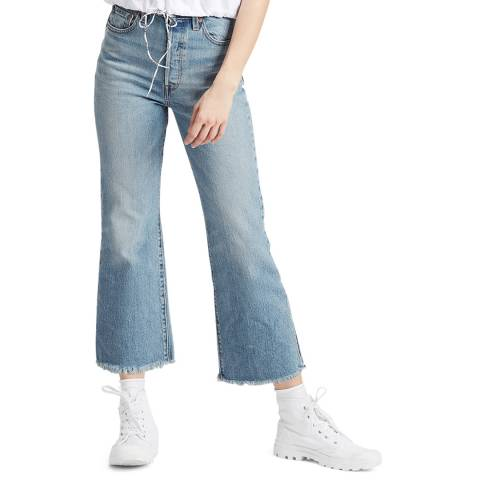 Levi's Blue Ribcage Crop Flare Stretch Jeans