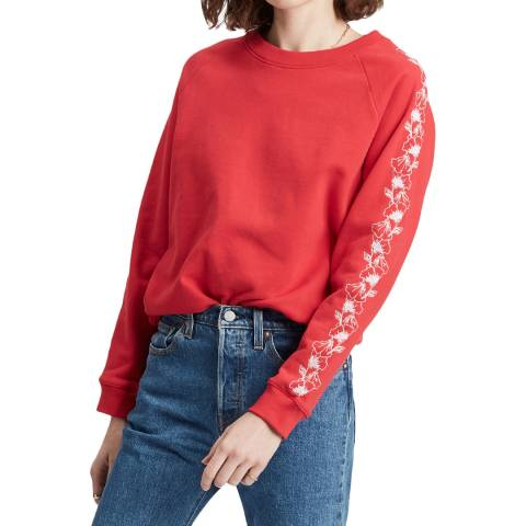 Levi's Red Relaxed Embroidered Sweatshirt