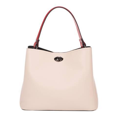 Markese Beige Leather Top Handle Bag