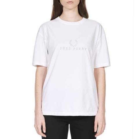 Fred Perry White FP Embroidered T-Shirt