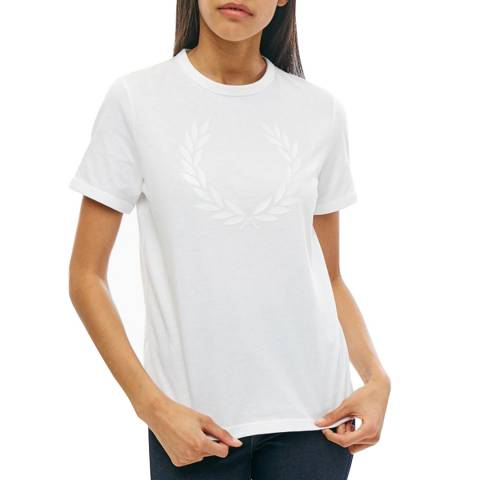 Fred Perry White Laurel Wreath Print T-Shirt