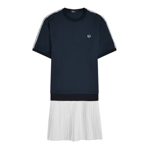 Fred Perry Navy Lace Trim Sweatshirt Dress