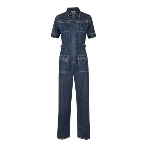 ALEXA CHUNG Blue Short Sleeve Jumpsuit