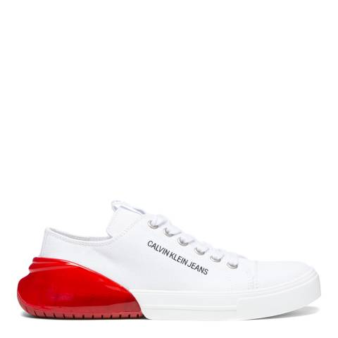 Calvin Klein Jeans White & Red Myrtie Low Top Trainers