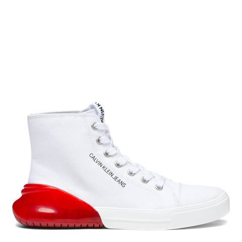 Calvin Klein Jeans White & Red Moreen High Top Trainers