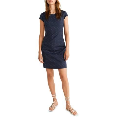 Mango Blue Printed Shift Dress