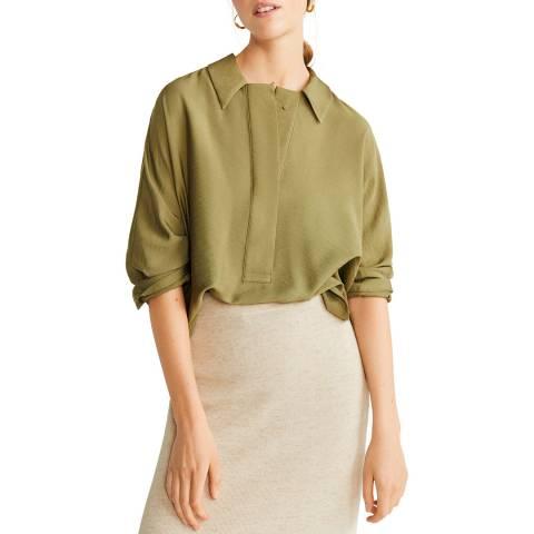 Mango Green Buttoned Flowy Shirt