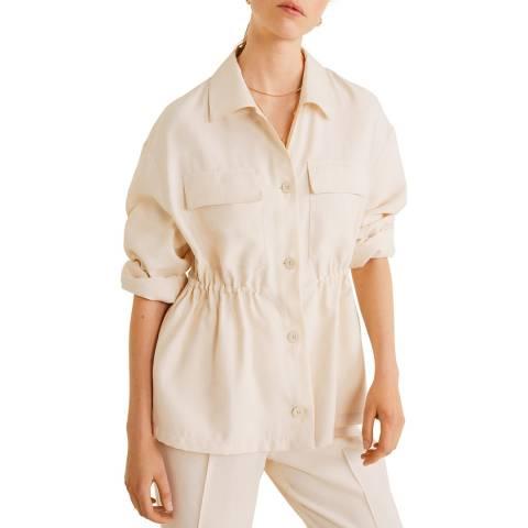 Mango Beige Adjustable Waist Overshirt