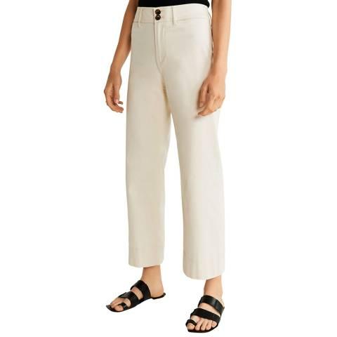 Mango Cream Soft Straight Trousers