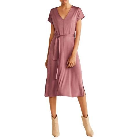 Mango Pink Belt Satin Dress