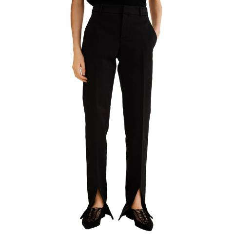Mango Black Slit Hem Trousers