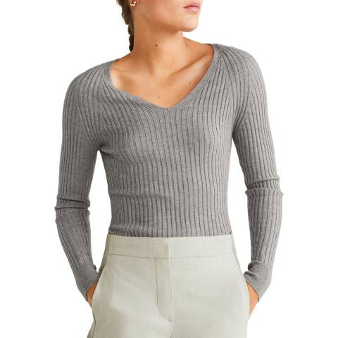 Mango Grey Ribbed Knit Sweater