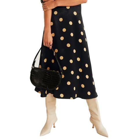 Mango Black Polka Dots Midi Skirt