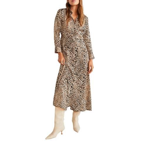 Mango Beige Leopard-Print Shirt Dress