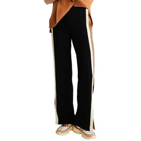 Mango Black Side Striped Trousers