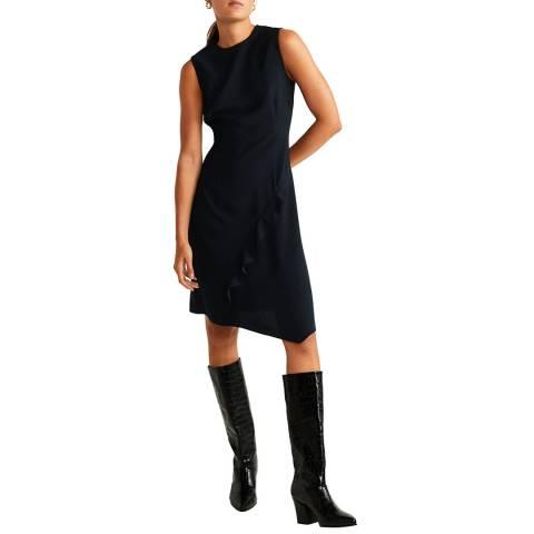 Mango Black Ruffled Detail Dress