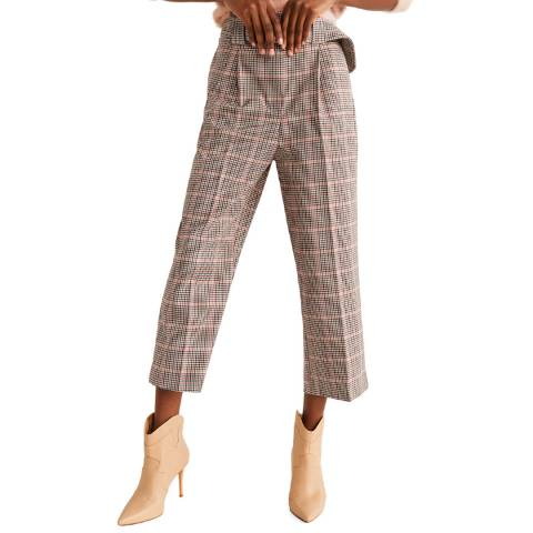 Mango Pink Houndstooth Stretch Trousers