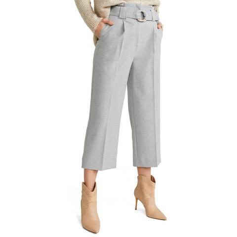 Mango Grey Belt Straight-Fit Trousers