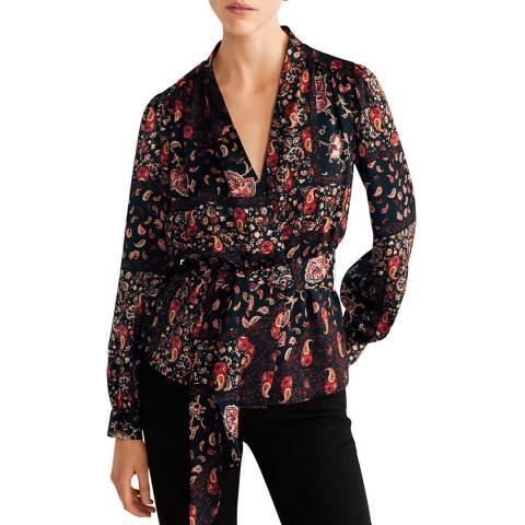Mango Red Paisley Print Blouse