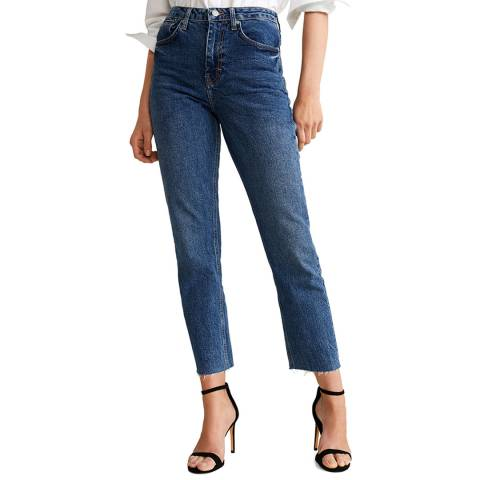 Mango Blue Straight Crop Stretch Jeans