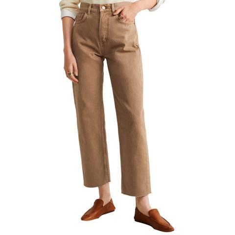 Mango Beige Regular Straight Jeans
