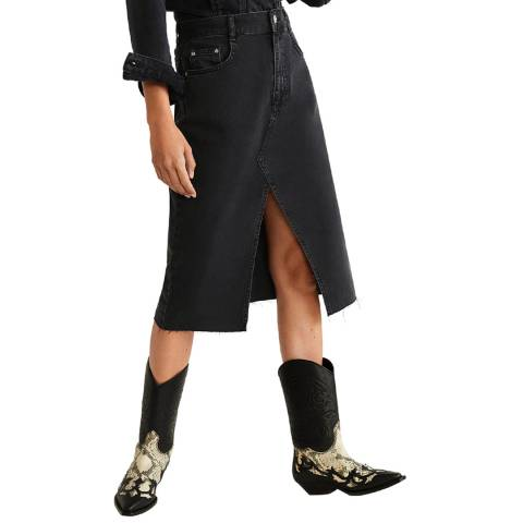 Mango Black Slit Denim Skirt