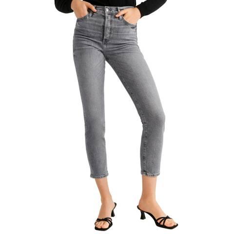 Mango Grey High Waist Stretch Jeans